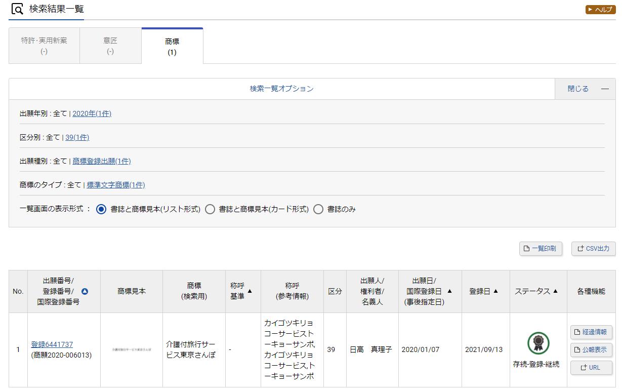 商標登録取れました【介護付旅行サービス東京さんぽ®】